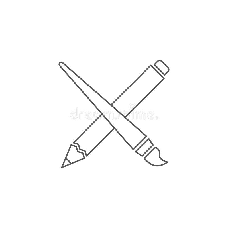Crossed pencil and paint brush vector icon symbol isolated on white background vector illustration