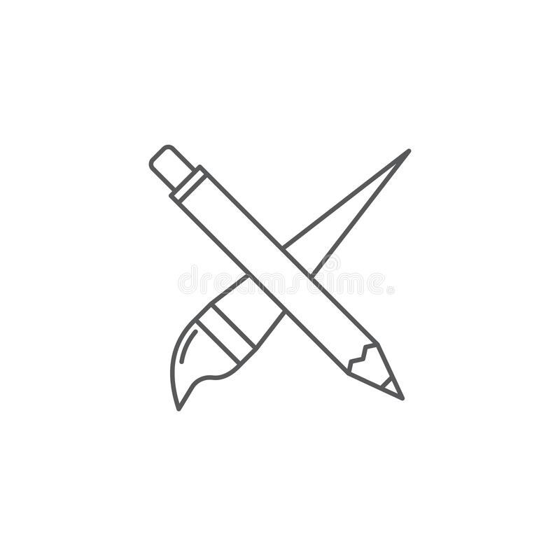 Crossed pencil and paint brush vector icon symbol isolated on white background stock illustration
