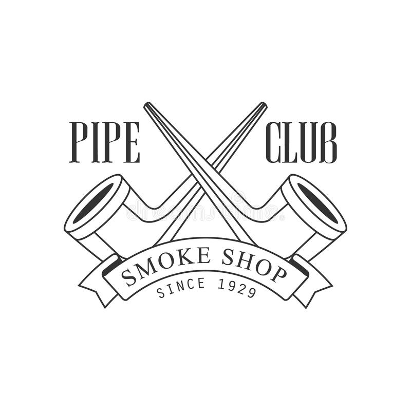 Crossed Pipes Premium Quality Smoking Club Monochrome Stamp For A Place To Smoke Vector Design Template royalty free illustration