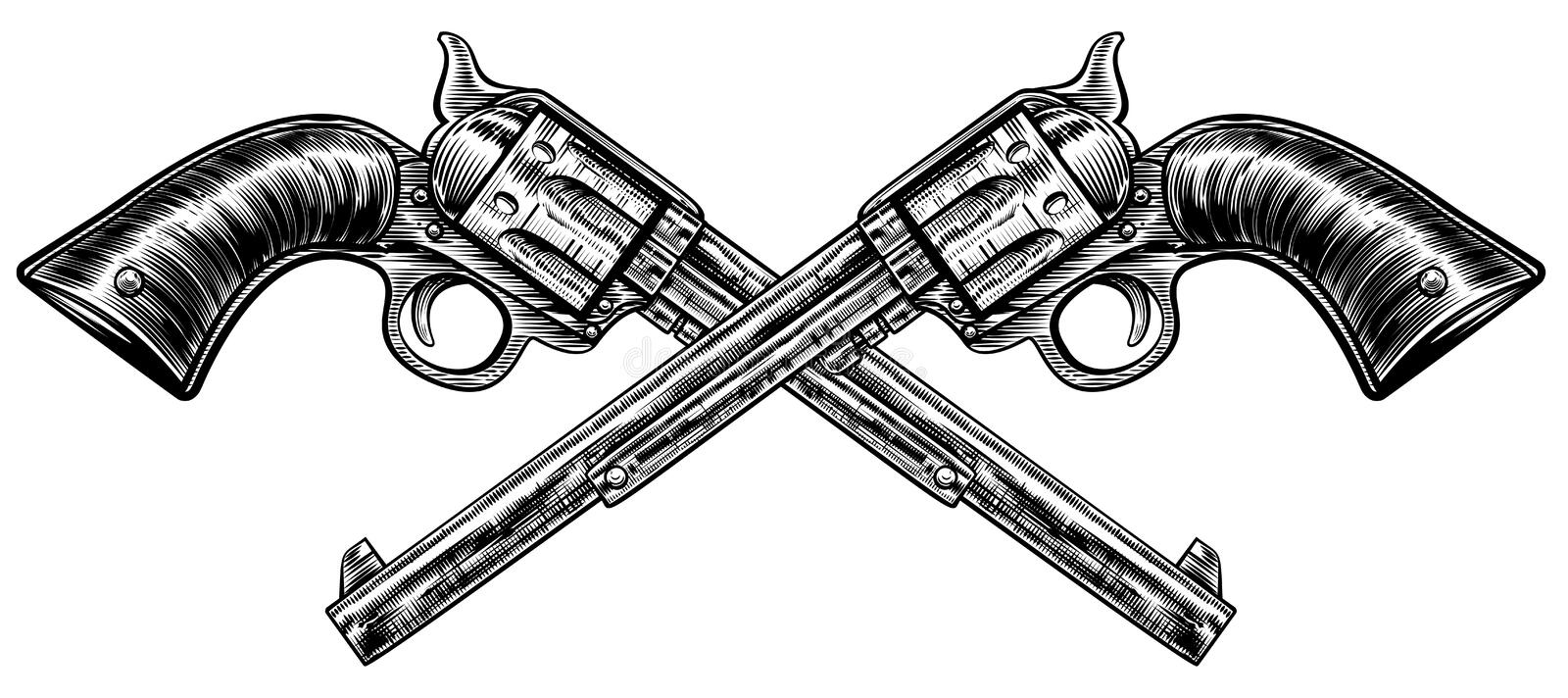 Crossed Pistol Guns vector illustration