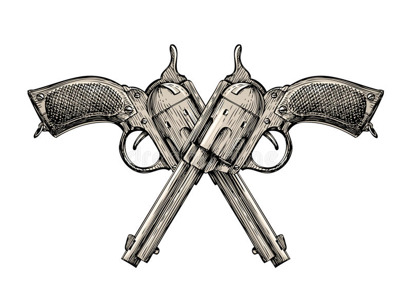 Crossed pistols. Vintage vector gun, pistol, handgun. Retro revolver royalty free illustration
