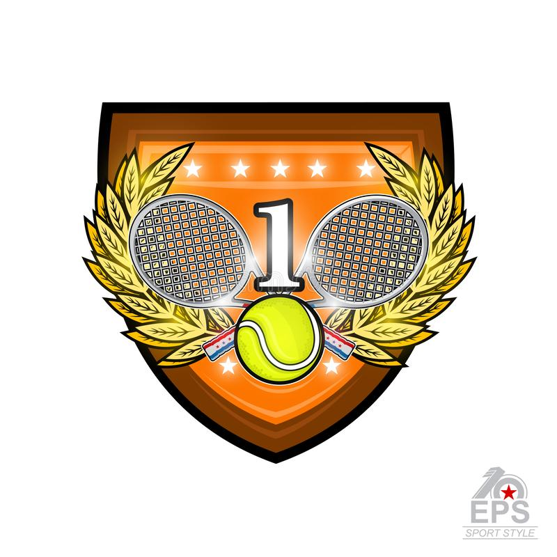 Crossed rackets with tennis ball and number one in the middle of golden wreath on the shield. Vector sport logo for any team or co. Mpetition isolated vector illustration