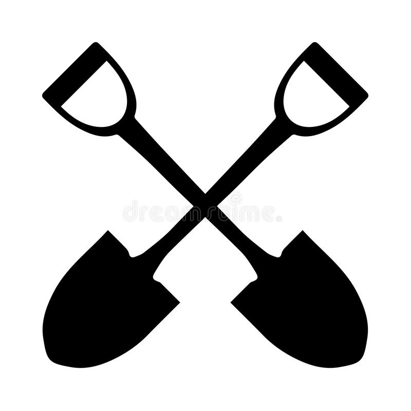 Crossed shovels/spades black silhouette on a white background royalty free illustration