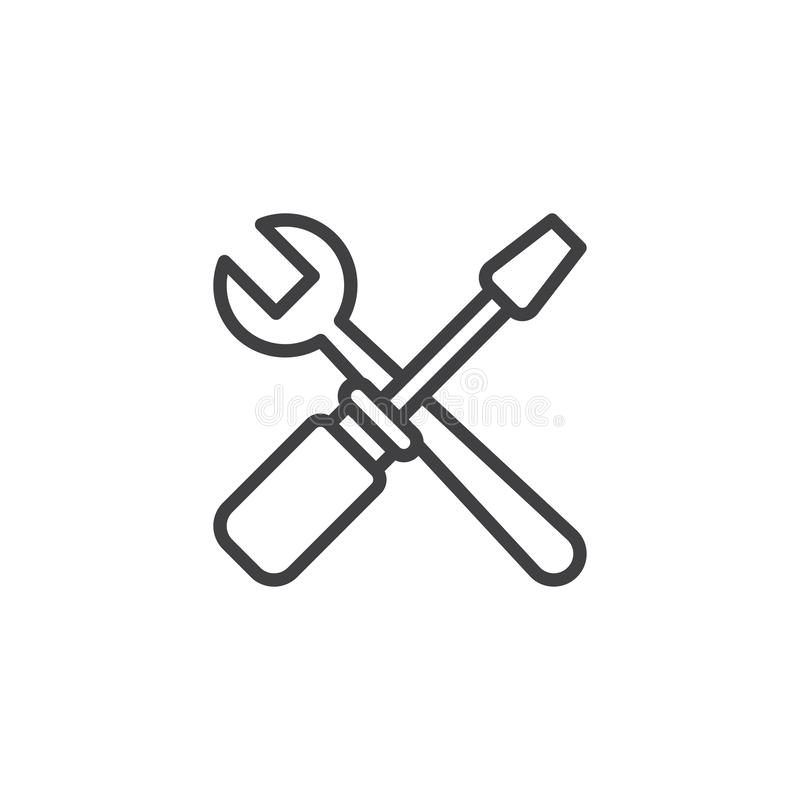 Free Crossed Spanner And Screwdriver Outline Icon Stock Photo - 134600290