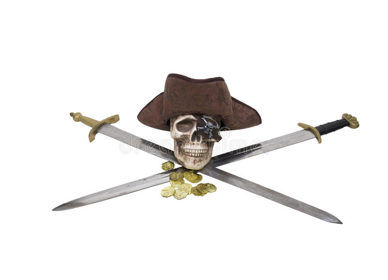 Crossed swords with pirate skull and booty stock image