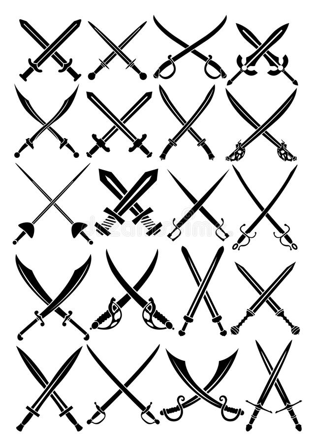 Crossed Swords Vector Collection In White Backgrou Stock