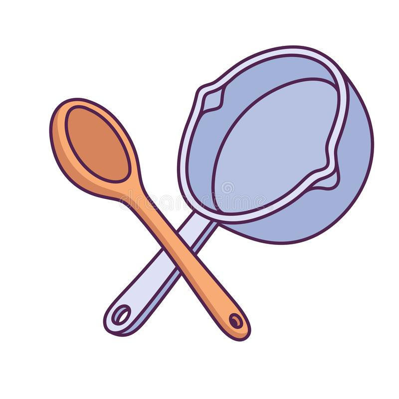 Crossed Wooden Spoon And Cooking Pan Stock Vector - Illustration of icon, drawing: 165453123