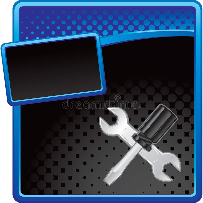 Crossed wrench and screwdriver on halftone banner royalty free illustration