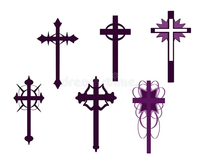 Set of isolated Crosses decorated. Illustration representing some examples of decorated crosses stock illustration
