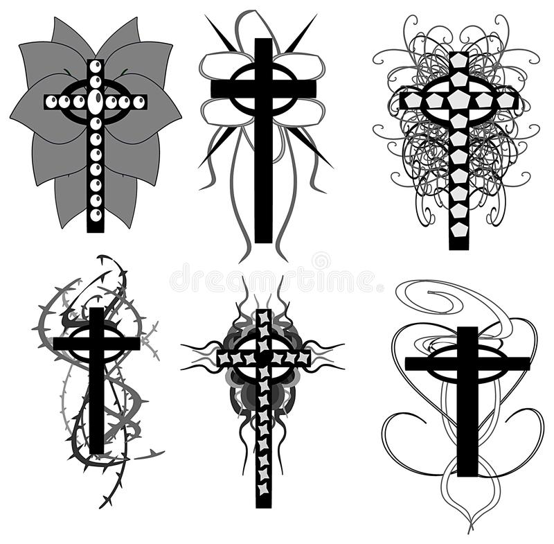 Download Set Of Isolated Crosses Decorated Stock Photography - Image: 14204162