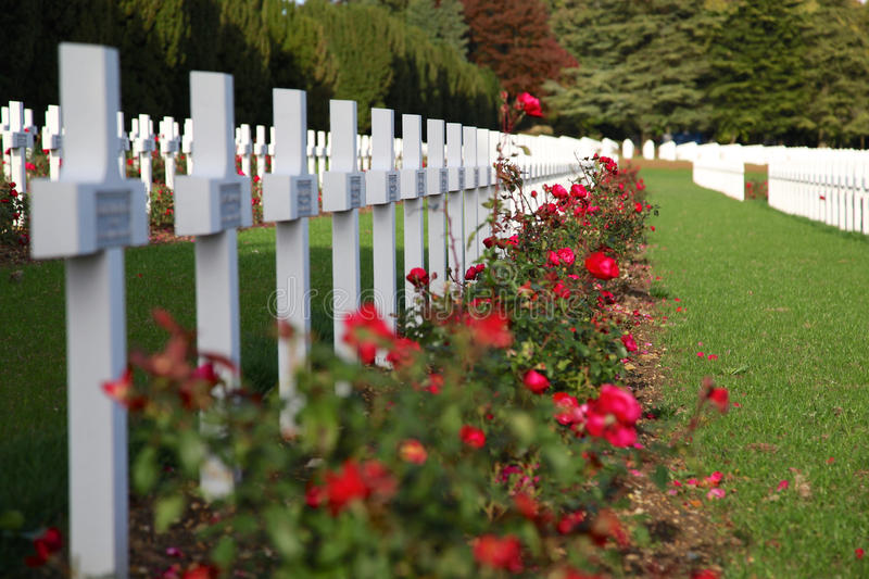 Crosses in the cemetery of soldiers who died near Verdun stock photo