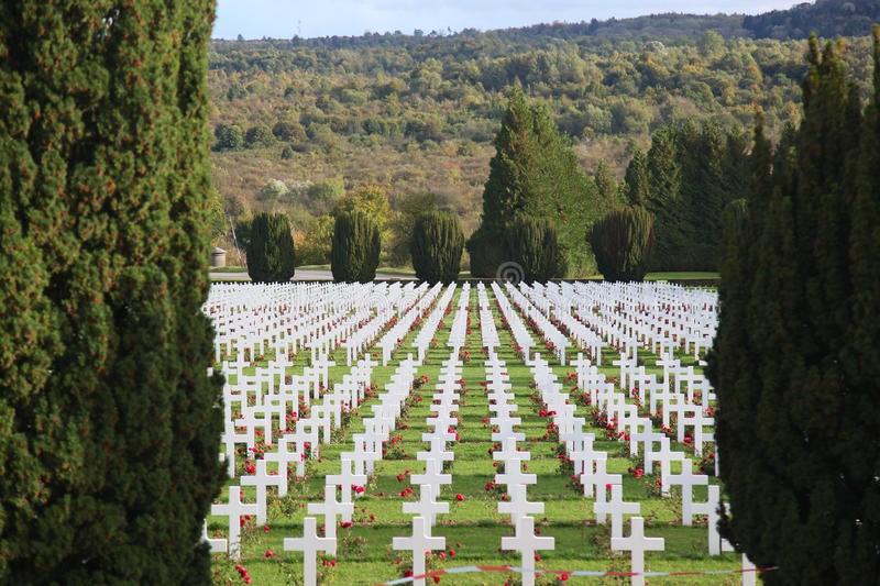 Crosses in the cemetery of soldiers who died near Verdun stock image