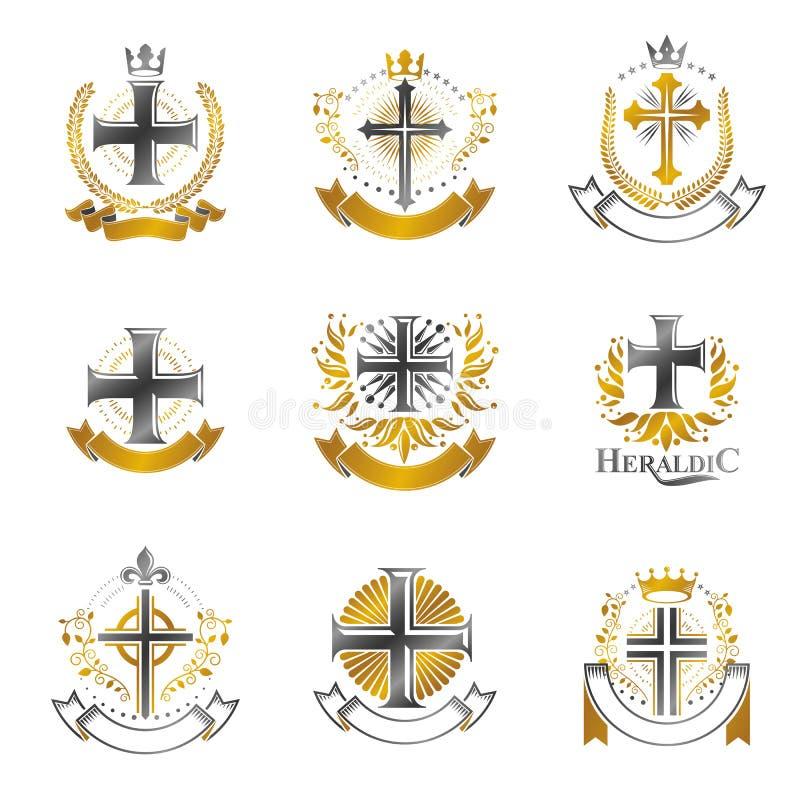 Crosses of Christianity emblems set. Heraldic  design elem stock illustration