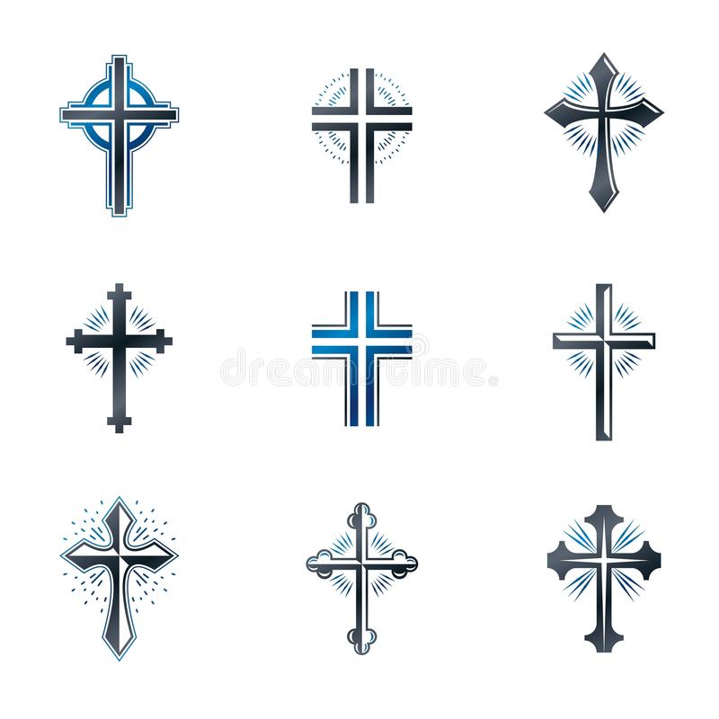 Crosses of Christianity emblems set. Heraldic vector design elem. Ents collection. Retro style label, heraldry logo vector illustration