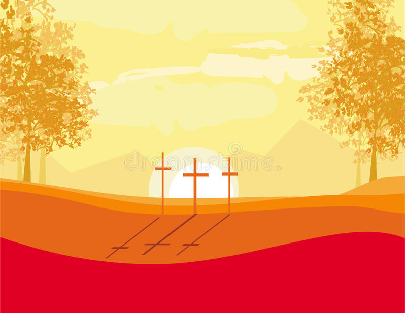 Download Crosses On A Hill At Sunset Stock Vector - Image: 33284891