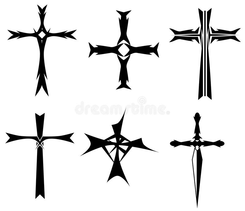 Download Set Of Crosses Tattoo In Black Stock Vector - Image: 34909249