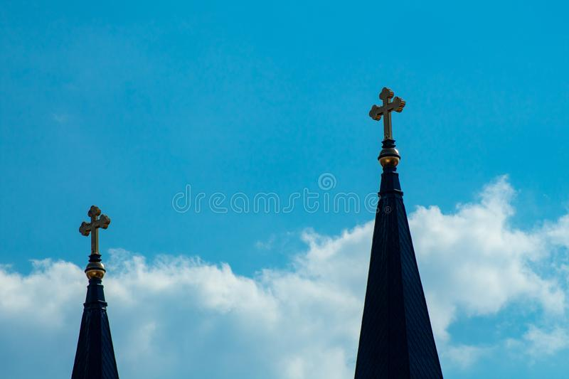 Crosses in the sky stock photography