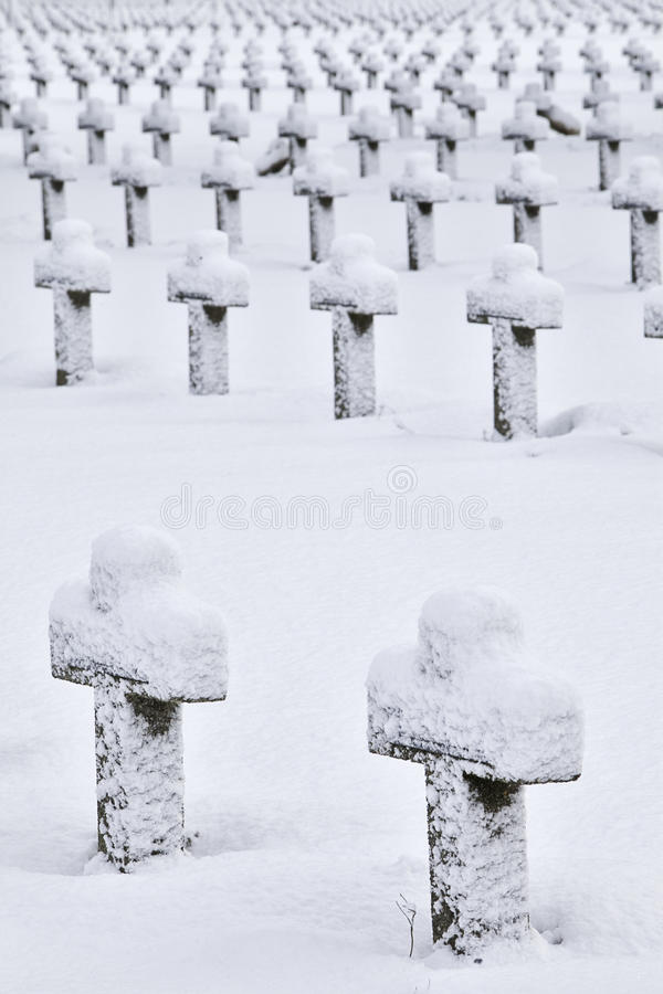 Crosses on the snow stock photos
