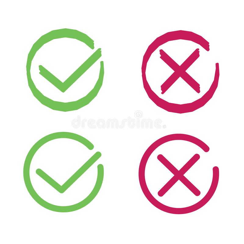 Crosses and ticks signs. Green tick and red cross, ok and crossing check mark vector icons in flat style. Yes and no symbols. Web icons stock illustration