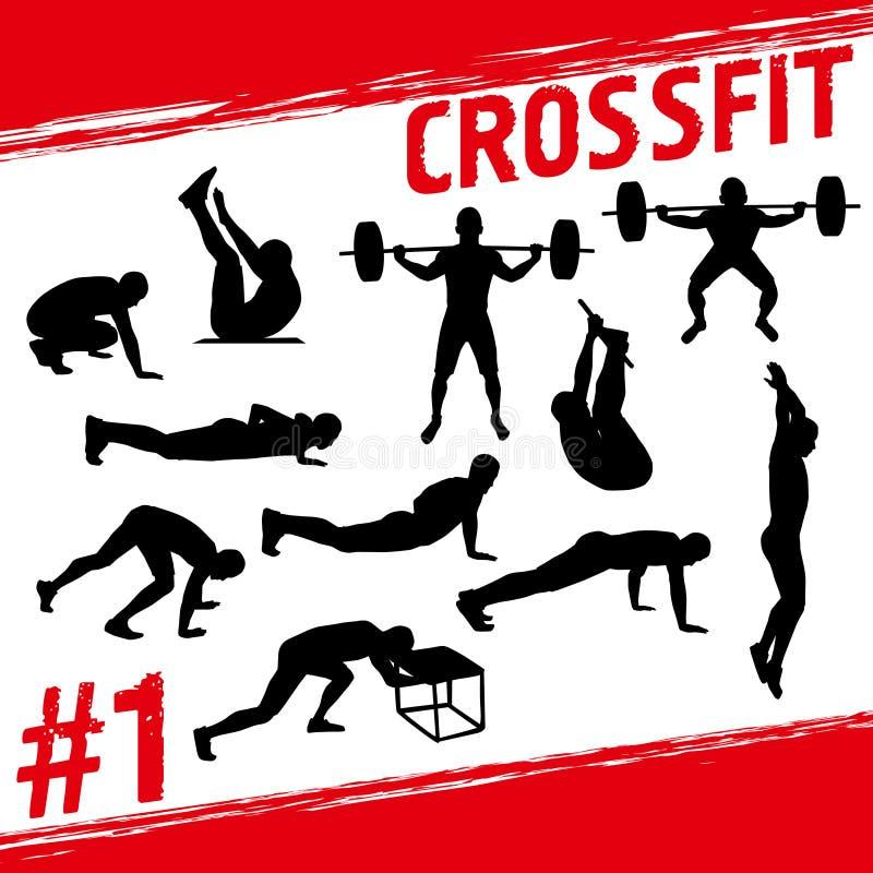Crossfit begrepp stock illustrationer