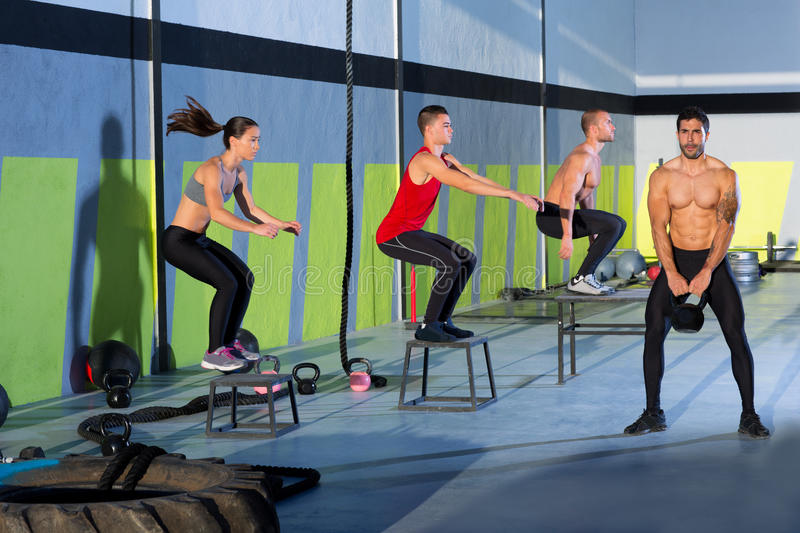 Download Crossfit Box Jump People Group And Kettlebell Man Stock Image - Image: 28359761