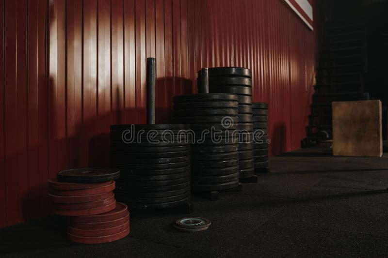 Crossfit equipment at gym. Barbell weights. Weightlifting concept. Copy space royalty free stock images