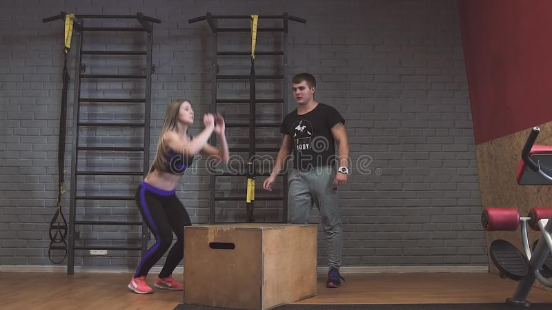 Crossfit Fitness Workout Group Woman And Man At Gym Stock Video