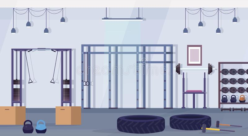 Crossfit health club studio with workout equipment healthy lifestyle concept empty no people gym interior training. Apparatus horizontal vector illustration royalty free illustration