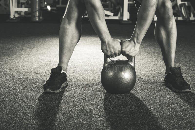 Crossfit kettlebell training stock photos