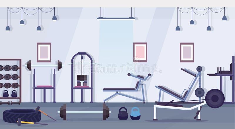 Crossfit zdrowie klubu studio z treningu wyposażenia styl życia zdrowym pojęciem no opróżnia żadny ludzi gym wnętrza szkolenia royalty ilustracja