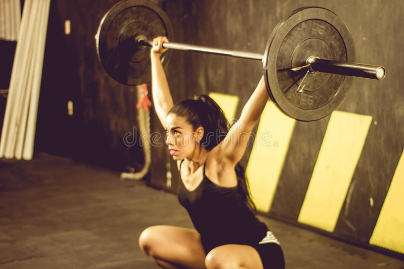 Crossfitter training hard daily wod deadlift stock image