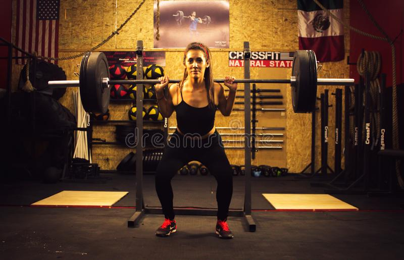 Crossfitter training hard daily wod deadlifting stock photos