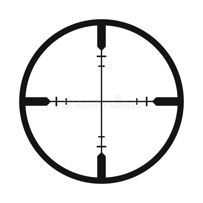 Crosshair black simple icon. Isolated on white background stock illustration