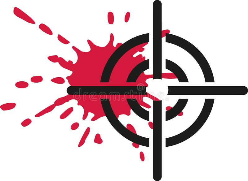 Crosshair with blood. Reticle vector stock illustration