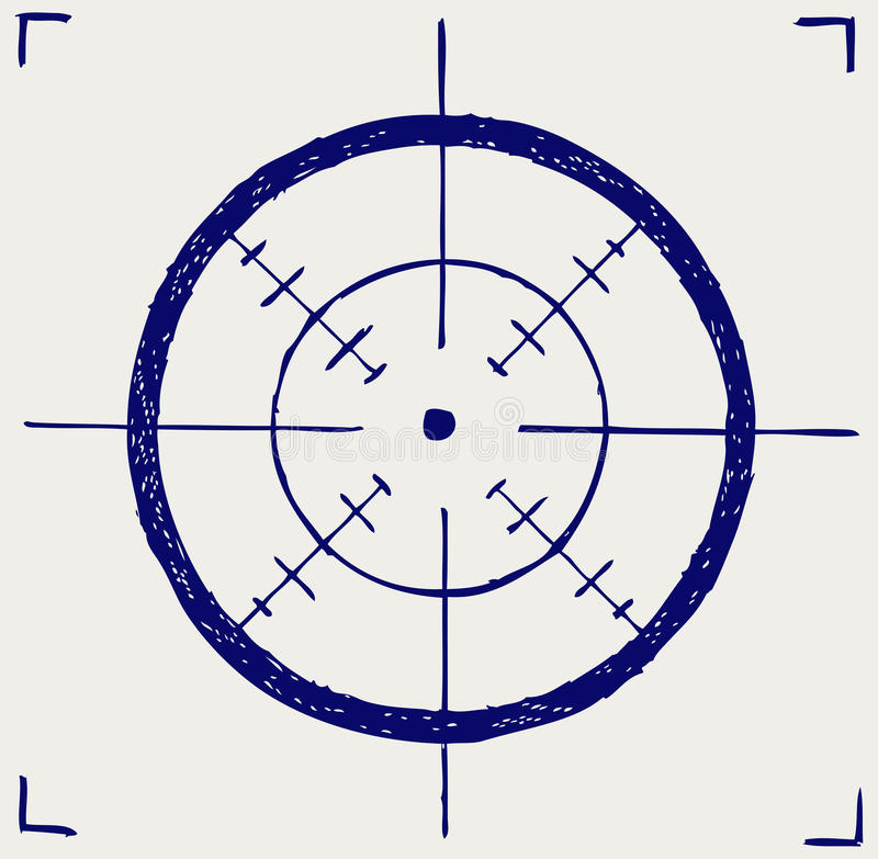 Crosshair. Doodle style. Vector sketch royalty free illustration