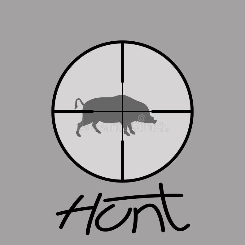 Crosshair för jägareprickskytträckvidd som siktar galtvektorn royaltyfri illustrationer