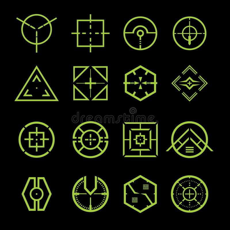 Crosshair. Green future Crosshair vector set stock illustration