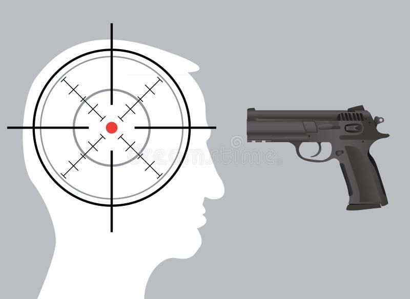 Crosshair in hoofd royalty-vrije illustratie
