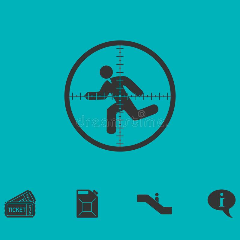 Crosshair icon flat. Simple vector symbol and bonus icon stock illustration