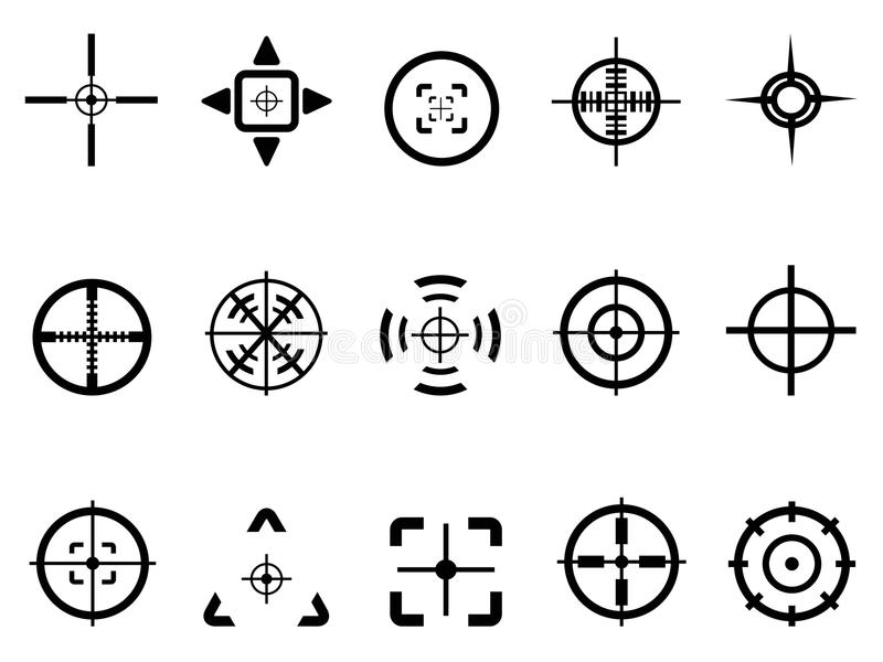Crosshair icon. Isolated crosshair icon from white background stock illustration