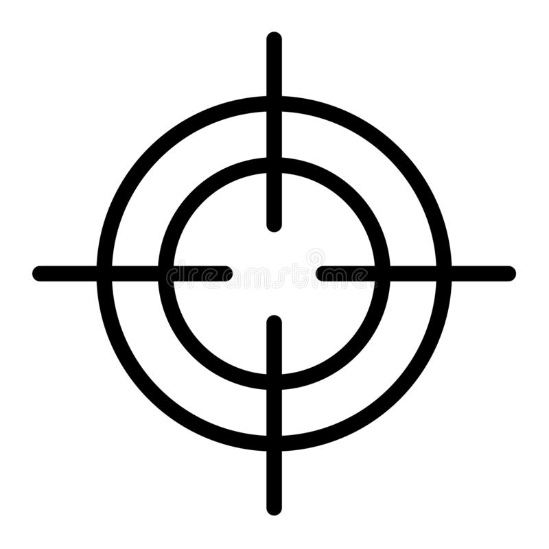 Crosshair icon, outline style. Crosshair icon. Outline crosshair vector icon for web design isolated on white background stock illustration