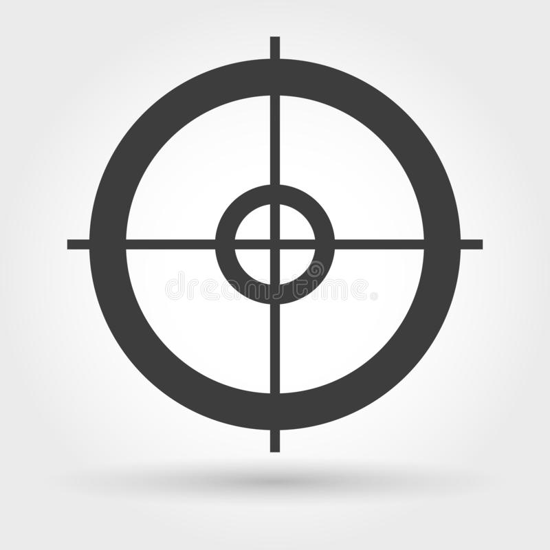 Crosshair icon on white. Crosshair icon. Vector small sniper weapon aiming sign royalty free illustration