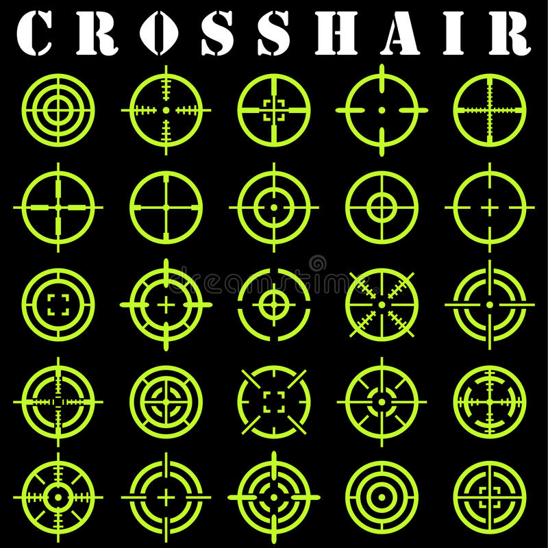 Crosshair.Icons set in vector. On a black background royalty free illustration
