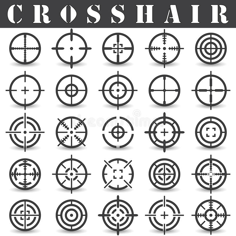 Crosshair. Icons set in vector. On a white background with a shadow vector illustration