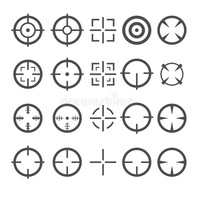 Crosshair ikony set Cel myszy kursoru pointery wektor royalty ilustracja