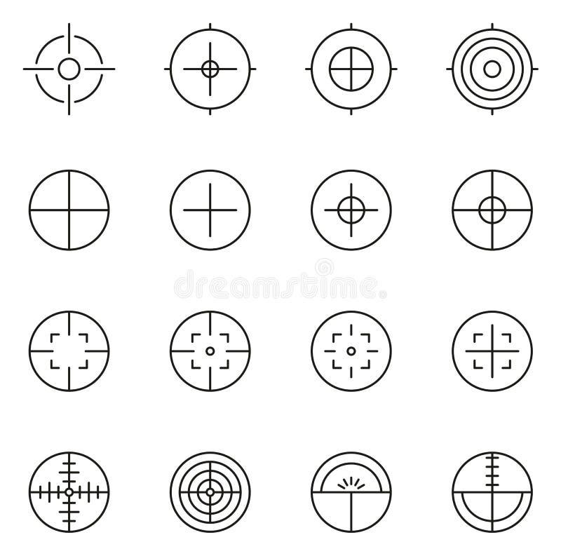 Crosshair lub widoku ikony Cienieją Kreskowego Wektorowego ilustracja set ilustracja wektor