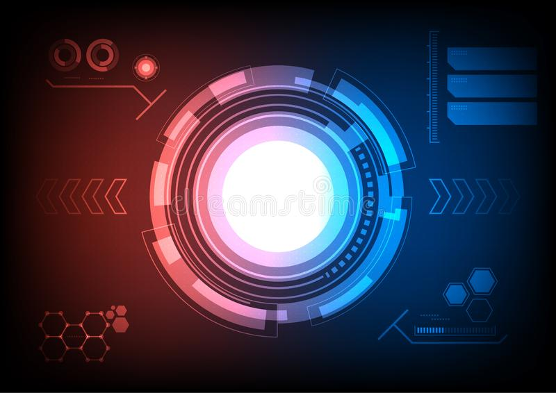 Crosshair mornitor. Futuristic crosshair screen monitor with two tone background, HUD interface stock illustration