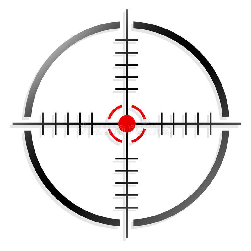Crosshair, reticle. Firearms' reticle, crosshair on white, vector vector illustration