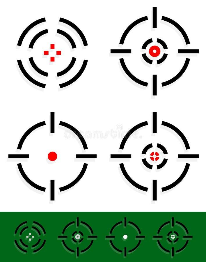 Crosshair, reticle, target mark set. 4 different cross-hairs. Vector illustration of crosshair, reticle, target mark set. Four different cross-hairs with red stock illustration