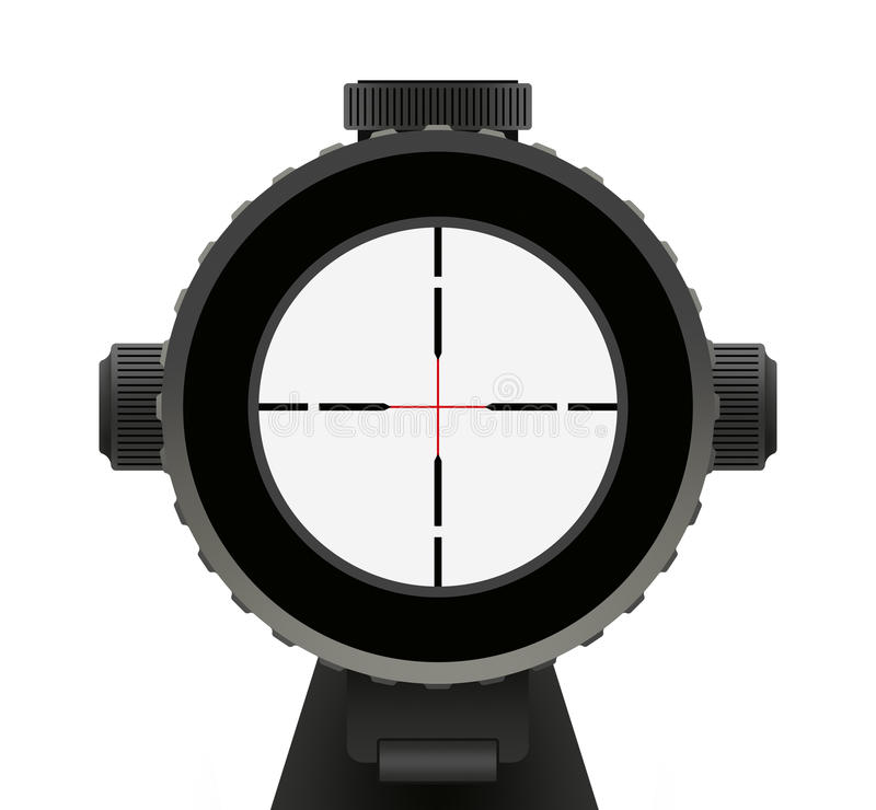 Crosshair. Riffle Scope with Red crosshair Isolated on White Background stock illustration